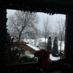 Window view at winter time